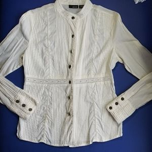 Romantic, smocked, cream, blouse by a.n.a. size S.